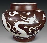 酱釉绘鸟纹罐