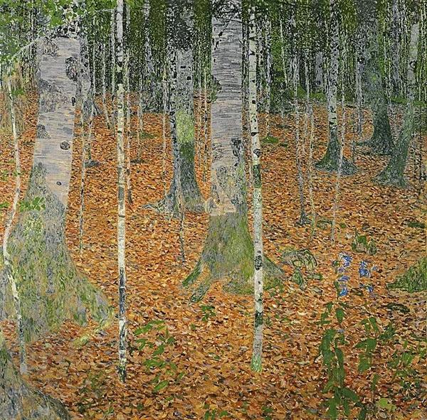 古斯塔夫·克里姆特《白桦林》,110 x 110 cm.。2006年11月8日在佳士得纽约以40,336,000美元成交