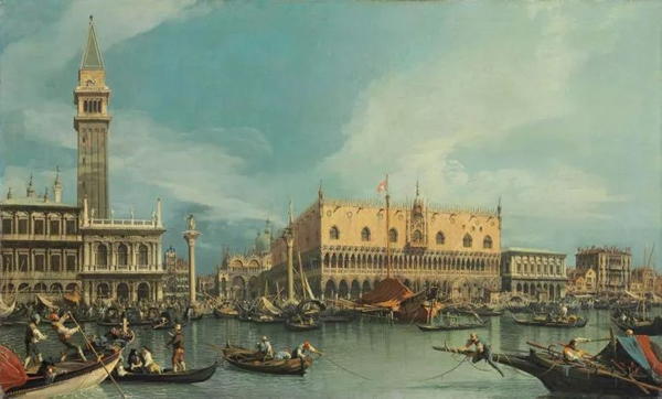乔凡尼·安东尼奥·康纳尔,又名卡纳莱托,《威尼斯莫洛圣马可角港口》,68.8 x 112.7 cm.。2013年7月2日在佳士得伦敦以8,461,875英镑成交