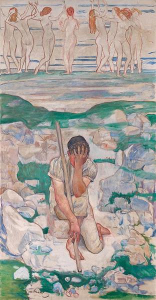 费迪南德·霍德勒《Der Traum des Hirten,1896年》,239 x 149 cm.。2013年12月11日在佳士得苏黎世以2,880,000瑞郎成交