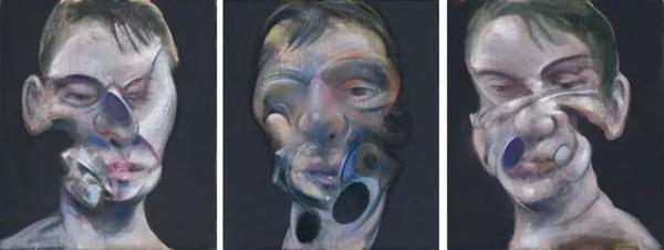 弗朗西斯·培根《自画像三习作》,1975年作于巴黎,35.5 x 30.5 cm.。2008年6月30日在佳士得伦敦以17,289,250英镑成交。© The Estate of Francis Bacon. All rights reserved. DACS 2018