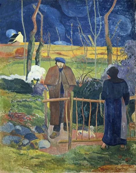 保罗·高更《早安!高更先生》,作于1889年,油彩 画布,113 x 92 cm. 。1969年在佳士得日内瓦以1,300,000瑞郎成交。图片:捷克共和国布拉格国家美术馆/ Bridgeman Images