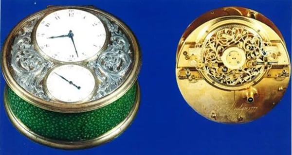 金镶珐琅的绿色航海时计。1976年在佳士得日内瓦以250,000瑞郎成交