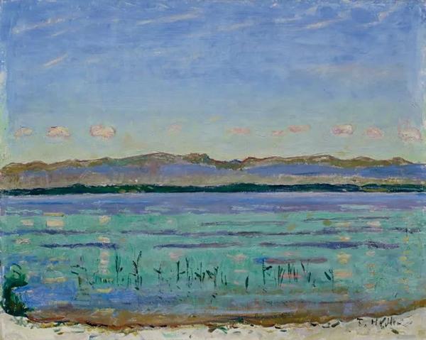 费迪南德·霍德勒,《日内瓦湖和侏罗山,1911年》,45.5 x 56.5 cm.。2010年6月7日在佳士得于苏黎世美术馆举办的拍卖会上以2,640,000瑞郎成交