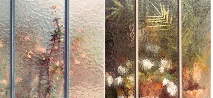 花房玻璃背墙后的植物私语