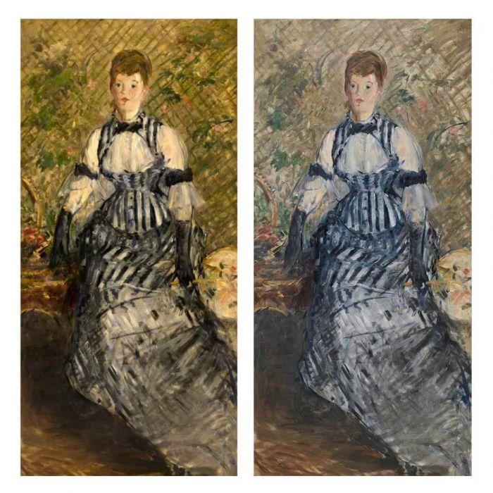 马内《穿着条纹洋装的女子》修复前(左)与修复后(右)。Photos: Kris McKay & Allison Chipak © Solomon R. Guggenheim Foundation, 2018。图/古根汉美术馆提供。