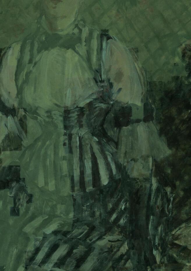 图左半部为紫外线照射下,保护漆的白色萤光;右半部为已去除保护漆的原始画面。Photo: Kris McKay © Solomon R. Guggenheim Foundation, 2018。图/古根汉美术馆提供。