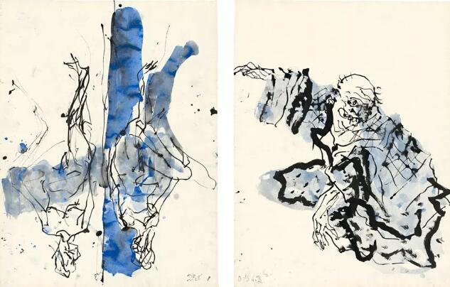 Georg Baselitz, Untitled, 2015, ink pen, watercolor and India ink on paper, 34 1/8 × 49 11/16 inches, framed (86.6 × 126.2 cm) © Georg Baselitz 2017.
