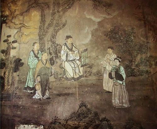 壁画:王重阳画骷髅点化马钰夫妇