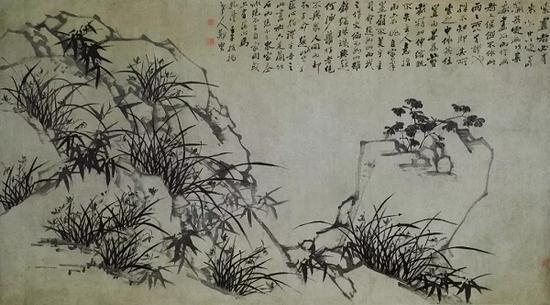 郑燮 《 兰竹石图横幅》 清乾隆二十七年(1762) 纸本