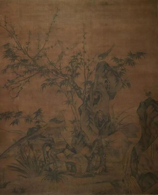 王渊 《桃竹锦鸡图》元至正三年(1343) 绢本