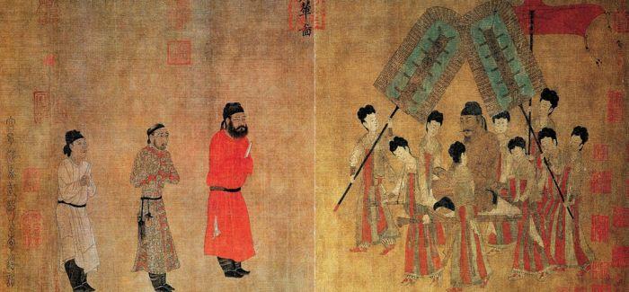 唐代阎立本《步辇图》:两把屏扇 一展旌旗