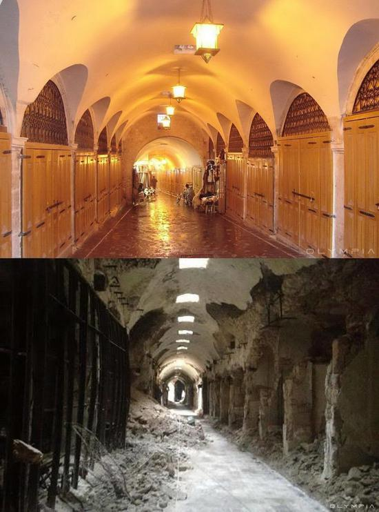 阿勒颇城内设施战前与战后对比图/图自澎湃新闻