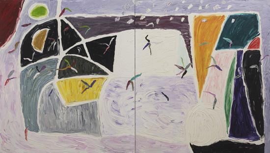 Gillian Ayres 吉莲·艾尔斯_White Wind  白色之风_191998-1999_Oil on canvas 布面油画_244 x 427cm