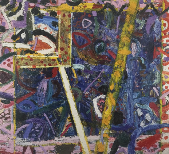 Gillian Ayres 吉莲·艾尔斯_Sapphire 蓝宝石_1987_Oil on canvas_264.5 x 294.5 cm