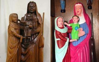 再现毁容式修复 西班牙圣母子像被修成乐高玩偶