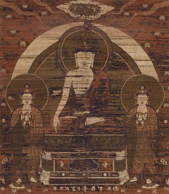 ▲锦织如来三尊百态佛图(局部),京都,誓愿寺