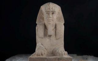 在康翁波神庙发现狮身人面像砂岩雕像