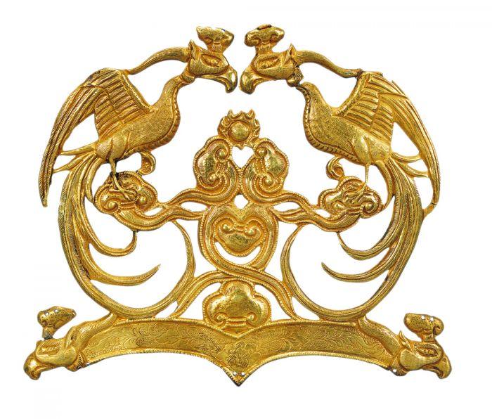 银鎏金对凤纹冠饰