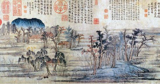 现身《延禧攻略》的赵孟頫《鹊华秋色图》(局部)。