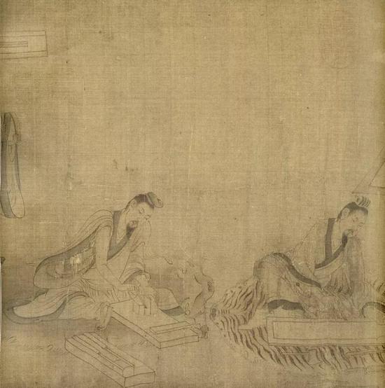 (宋)佚名 摹顾恺之斫琴图(局部) 绢本墨笔