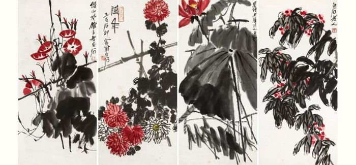 嘉德香港秋拍 齐白石花卉四屏