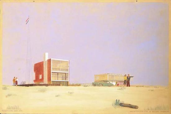 """建筑图纸中描绘了""""永远没有烦恼""""的生活"""