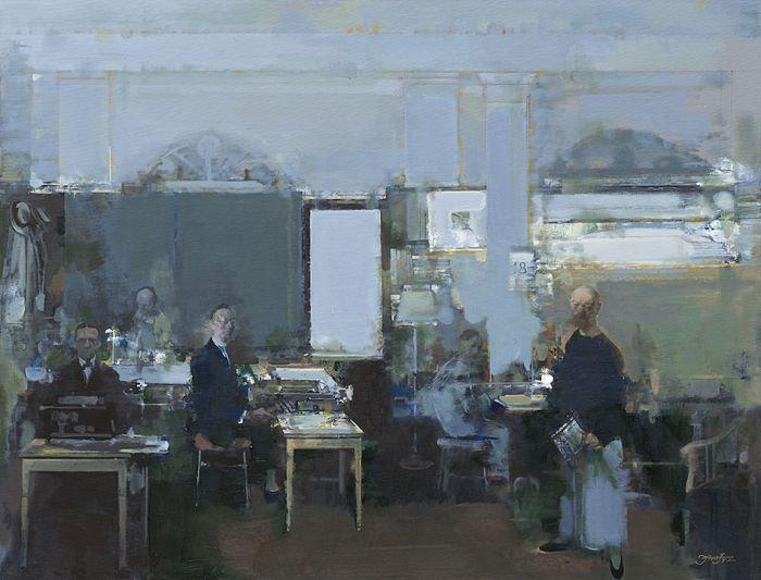 清末外滩打字间A Typing Room on the Bund in the Late Qing Dynasty-姜建忠Jiang Jianzhong-油画Oil Painting-92x120cm