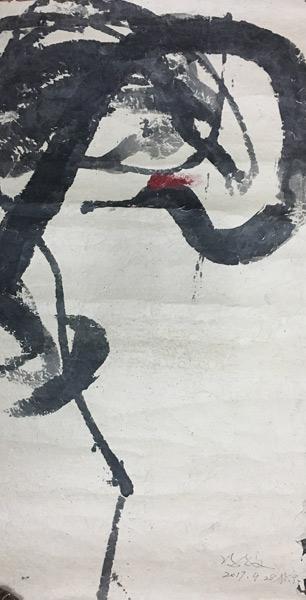 冯放--鹤No.1--182×100cm--纸本水墨--2017