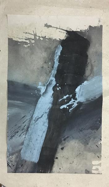 韩中人--自然城市之一--194×110cm--纸本墨彩--2017
