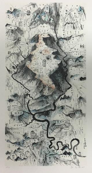 邱志杰--海龙屯地图--120×70cm--宣纸设色--2017