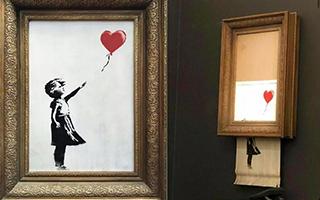 Banksy自毁作品 当以120万欧元在苏富比拍卖成交时