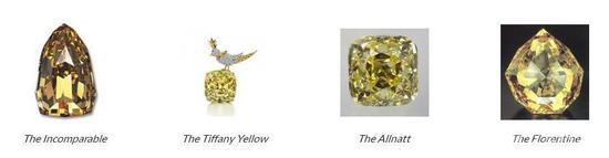 """历史上出现了不少名誉全球的著名黄钻,接下来就让我们一睹其中最著名的四大黄钻的风采吧,它们分别是无与伦比黄钻(The Incomparable)、蒂芙尼黄钻(The Tiffany Yellow)、""""欧纳特""""钻(The Allnatt)和佛罗伦萨钻石(The Florentine)。"""