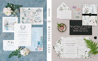 用不同风格的婚礼卡片分享喜悦
