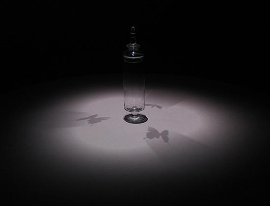 《虚拟瓶》:蝴蝶飞舞,在瓶子的影子中,却不在瓶中