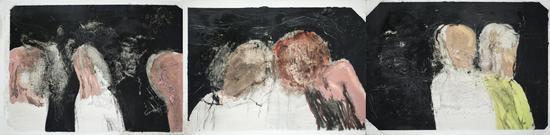 吴玮,《地铁》3联,219x54cm,油画,2018