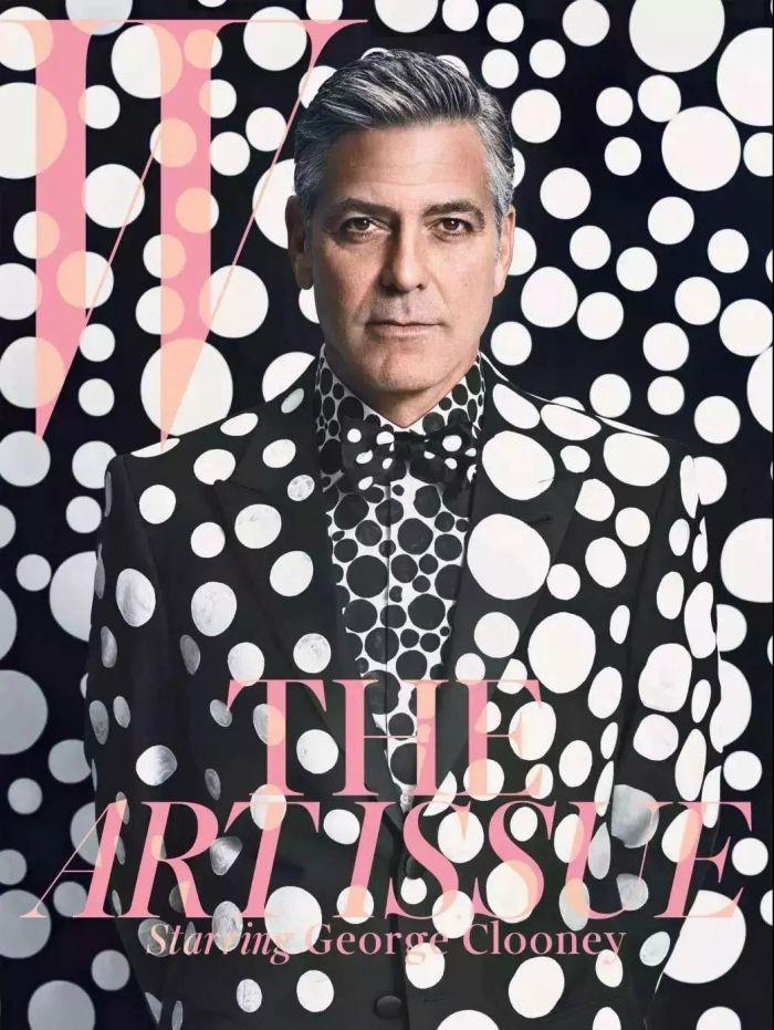 2013年,乔治·克鲁尼身着Armani定制的草间弥生圆点西装登上时尚杂志《W》封面,草间弥生|这世界很糟,但我依然热爱,这世界,草间弥生,圆点,波点,南瓜,日本,工作室,天才,纪录片,父亲