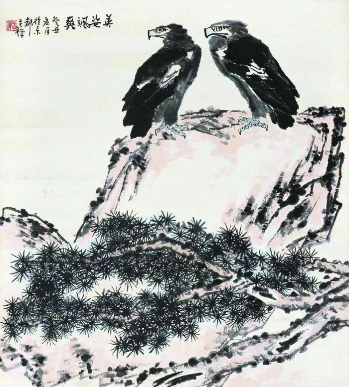 李苦禅 1973年作 英姿飒爽 立轴 设色纸本