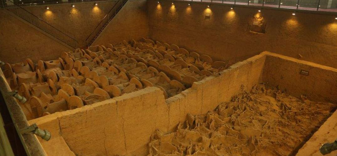 晋国博物馆内的车马坑早秦始皇陵车马坑600年