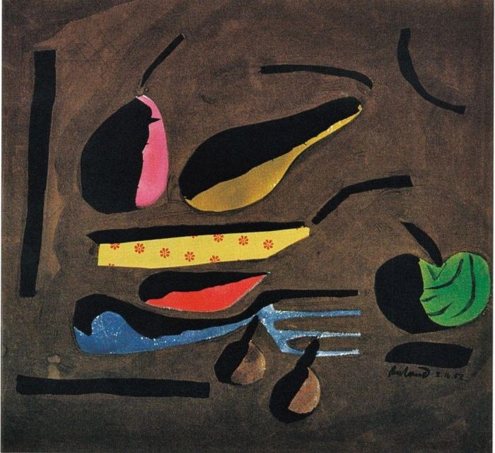 图注2:这幅水粉画以及图注4的水彩画和图注5的油画都是1952 到1954 年的作品,那时候作画还没