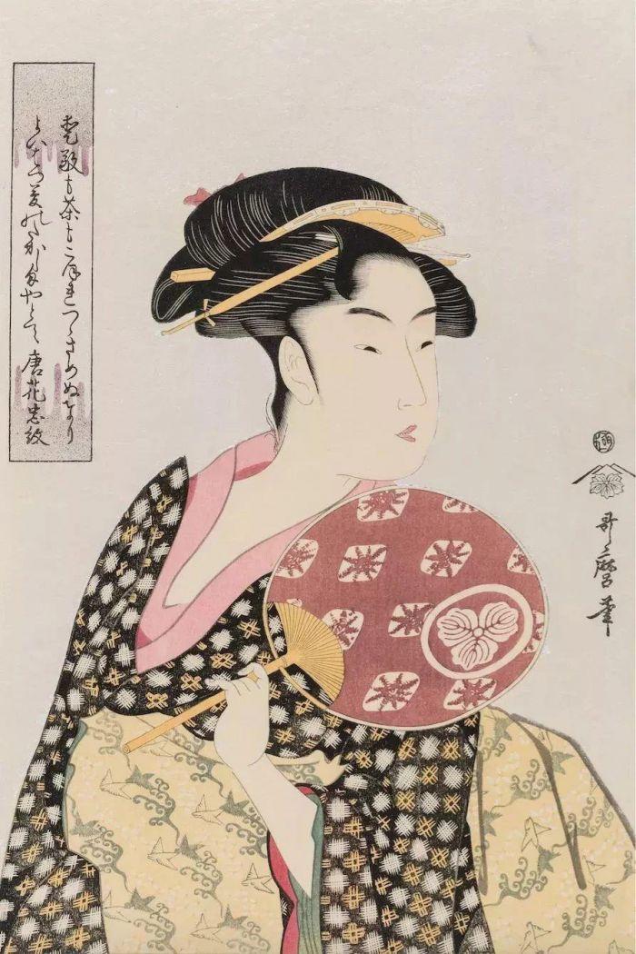 """喜多川歌麿 -《高岛久》- 约1792~1793年,梵高:""""浮世绘就是我的信仰"""",浮世绘,梵高,信仰,日本,版画,江户,葛饰北斋,美人,演员,女性"""