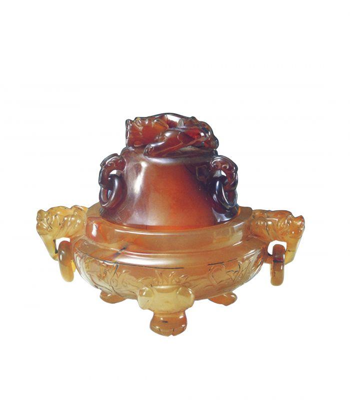 图1 清代制玛瑙螭纽狮足香炉