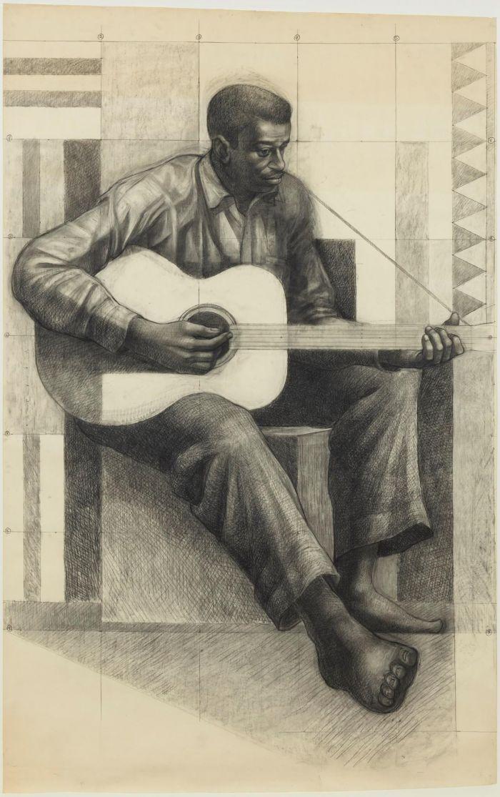 《吉他演奏者》,1977-1978,卓纳画廊 | 纽约 | 查尔斯·怀特:不朽的练习 | Charles White: Monumental Practice,卓纳,White,查尔斯·怀特,Monumental,怀特,壁画,玛丽,绘画,麦克里欧德,贝颂