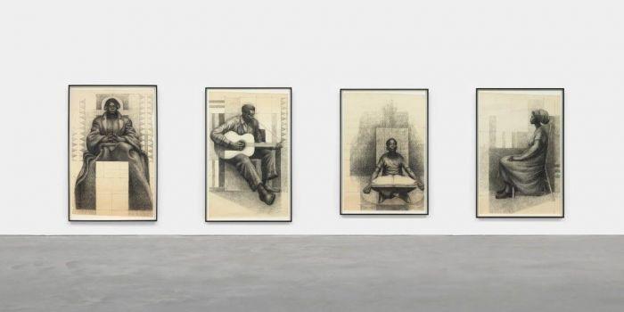《对〈玛丽·麦克里欧德·贝颂〉壁画的研究(坐着看书的孩子,吉他手,玛丽·麦克劳德·白求恩,和坐着的女