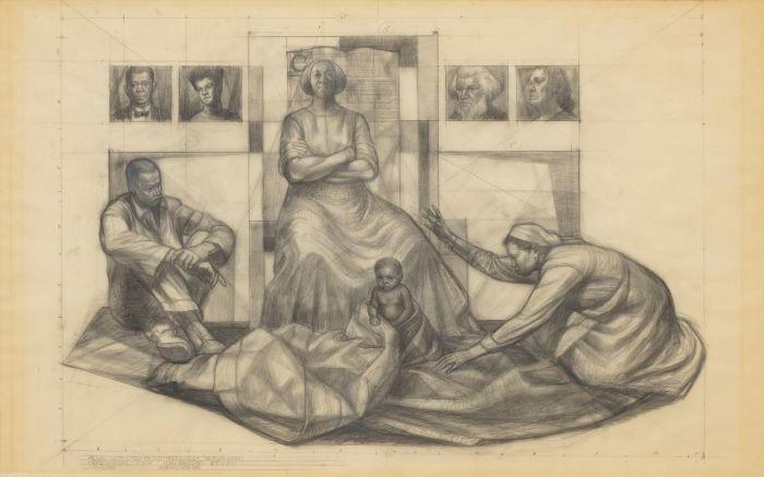 《壁画研究——巴克斯医务大楼》,1961,卓纳画廊 | 纽约 | 查尔斯·怀特:不朽的练习 | Charles White: Monumental Practice,卓纳,White,查尔斯·怀特,Monumental,怀特,壁画,玛丽,绘画,麦克里欧德,贝颂