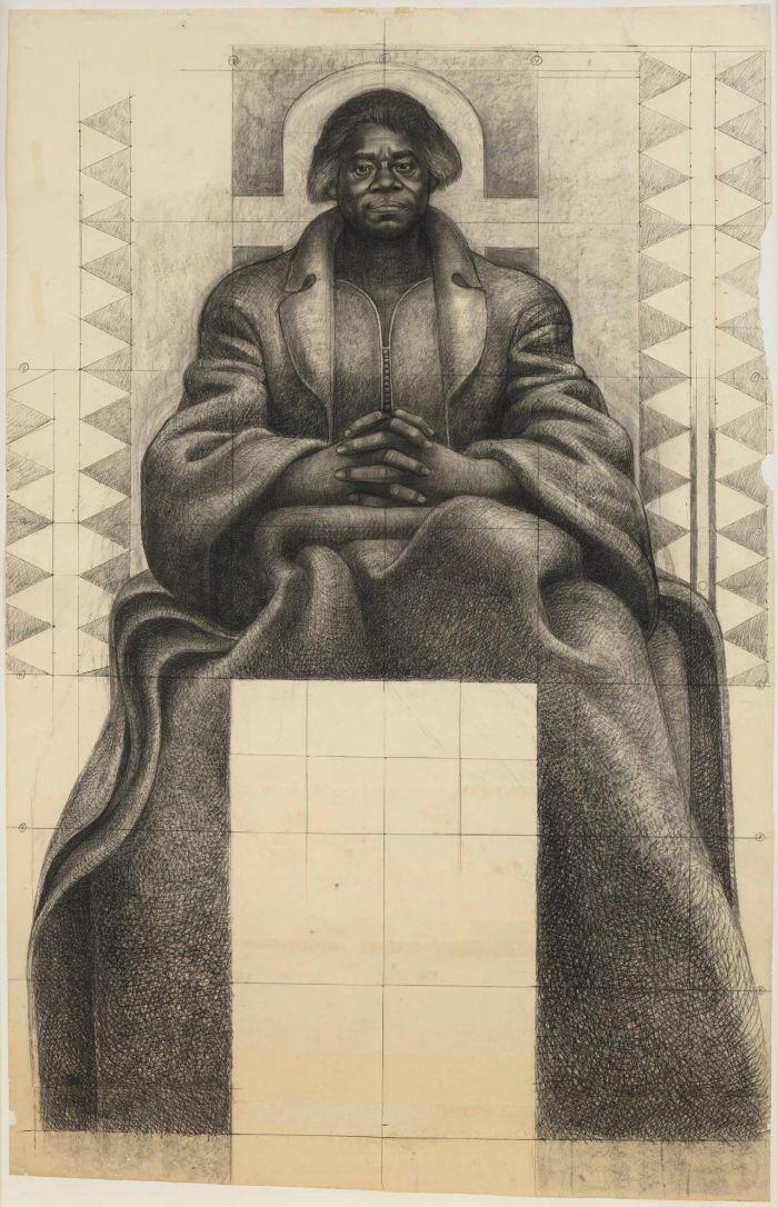 《玛丽·麦克里欧德·贝颂》,1977-1978,卓纳画廊 | 纽约 | 查尔斯·怀特:不朽的练习 | Charles White: Monumental Practice,卓纳,White,查尔斯·怀特,Monumental,怀特,壁画,玛丽,绘画,麦克里欧德,贝颂