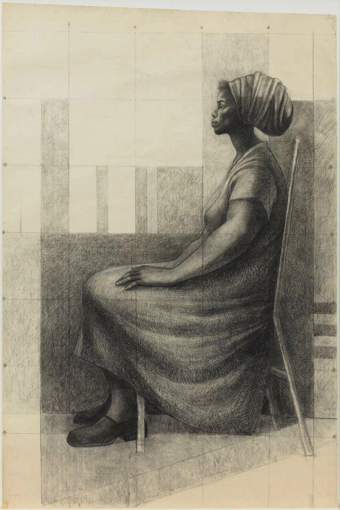 《向左坐着的女人》,1977-1978,卓纳画廊 | 纽约 | 查尔斯·怀特:不朽的练习 | Charles White: Monumental Practice,卓纳,White,查尔斯·怀特,Monumental,怀特,壁画,玛丽,绘画,麦克里欧德,贝颂