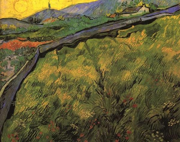 《春天日出时的麦田》1889