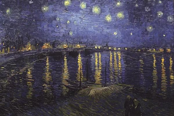 《罗讷河上的星空》1888
