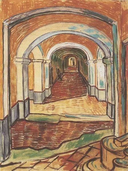 《精神病院的走廊》 1889